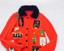 Vintage Ugly Christmas Red Sweater, Decorated Tacky Christmas Trees Cardigan, Faux Fur Black Collar Women's Button Down Holiday Sweaters