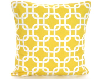 Yellow Decorative Throw Pillow Covers, Cushions, Corn Yellow White Gotcha, Couch Bed Pillows, Euro Sham, Cushions, One or More All Sizes