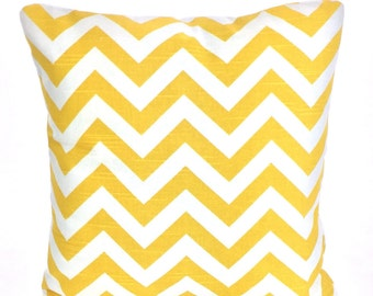 Yellow Chevron Decorative Throw Pillow Covers, Cushions, Corn Yellow Zig Zag White Couch Pillows, Euro Sham, Cushions One or More All Sizes