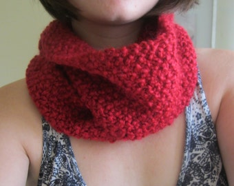 Knit Red Infinity Scarf - soft scarlet winter scarf - handmade