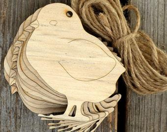 10x Wooden Chick Standing Craft Shapes 3mm Plywood Farm Bird Hen Chicken