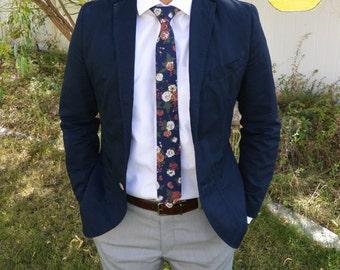 Floral Tie, Navy Blue Floral Tie, Vintage Skinny Tie, Wedding Floral Tie, Blue Floral Tie