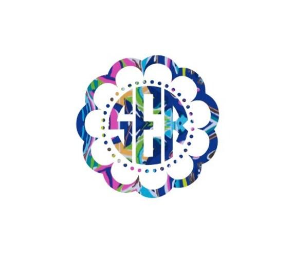 Free Shipping-Exotic Garden Flower Monogram Decal, Lilly Pulitzer monogrammed decal sticker, Personalized,Yeti, Laptop,Monogram Sticker