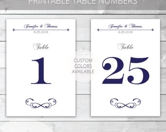 Navy Printable Wedding Table Numbers, Classic Style, Custom Colors Available