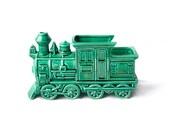 Train planter | Green glazed ceramic