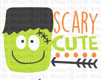 Frankenstein scary cute SVG, DXF, EPS, png Files for Cutting Machines Cameo or Cricut halloween shirt diy // cute boy halloween svg