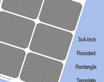 3x4 Rounded Rectangle Template, Digital Download