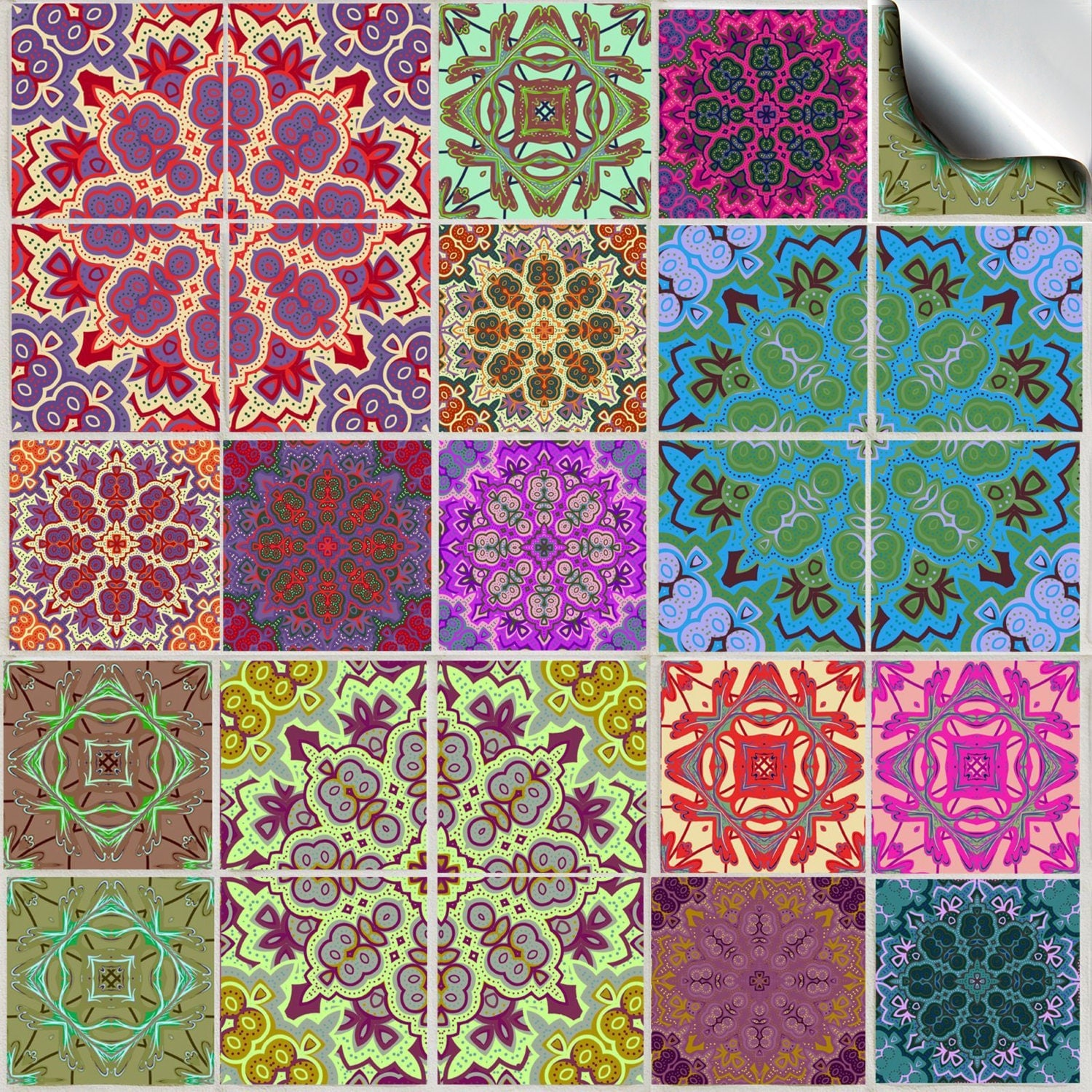 Pack Of Various Traditional Mosaic Tile Stickers Tp 54