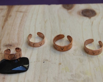 Adjustable ring recycled copper -Love-