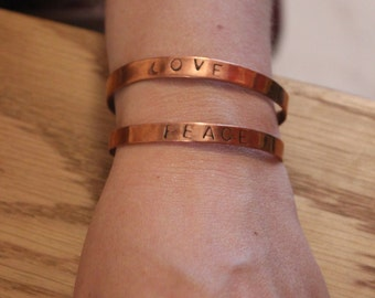 bangle bracelet with recycled copper - peace & love  - jewellery - message - gift
