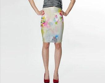 White Skirt, Pink Skirt, Pencil Skirt, Blue Fitted Skirt Art Skirt Pastel Skirt Knee Length Skirt Womens Clothes Designer Skirt Wearable Art
