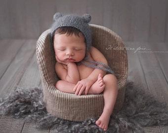 Mohair Bear Bonnet, Knit Baby Hat, Cub, Animal Ears, Newborn Hand Knitted Cap, Infant Photo, Mohair and Silk bonnet, newborn