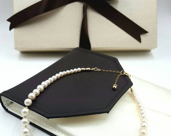 Black Tahitian and white freshwater pearl necklace 14kt gold filling