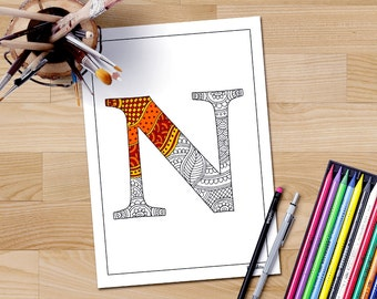 Adult Coloring Book Page Letter N Printable Alphabet Art Therapy Colour In Doodles
