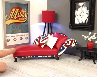 1:12 Scale Modern Miniature - Union Jack & Red Leatherette Rolled Arm Chaise Longue - Perfect for the Elegant Mini Dolls House or Room Box