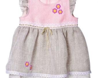 Linen Dress for Girls.  Flower Girl Dress. Girls Linen Dress. Flower Girl Dress. Toddler Girl Dresses