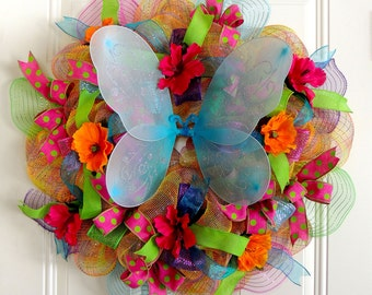 Butterfly Summer Wreath Spring Butterfly Wreath Deco Mesh Hibiscus Flower Wreath Door Hanger decoration Front Door Wreaths