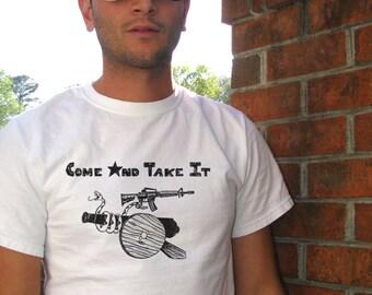 Come and take it, Dont Tread on Me, Texas Tshirt, Texas shirt, Gun shirts, Mens Tshirt, Mens tees, 2nd Amendment, Rifle, AR15, Texas Tee