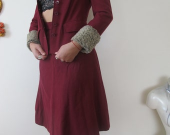 xs 50s - 60s wool suit - maroon - size extra small xs - waist 25""