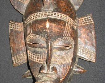 Ethnic Ivory Coast African mask, Vintage African Sculpture Wood Carving GOURO Ethnic