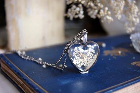 QUEEN ANNE'S LACE terrarium pendant - 12 colors, heart necklace, blue pink orange white lavender red brown purple, terrarium jewelry,