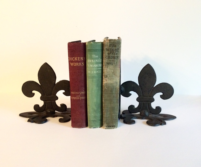 Fleur de lis iron bookends french home decor retro designer Fleur de lis bookends