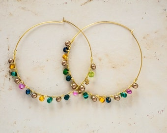 Colorful Wire Wrapped Gold Tone Beaded Hoops with Glass Beads Boho Bohemian Jewelry