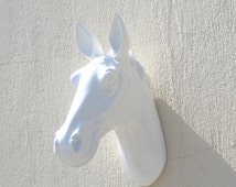 White faux horse head wall mounting, horse head, wall decor, home decor, house, wall hanging, wall art, animal head, resin craft