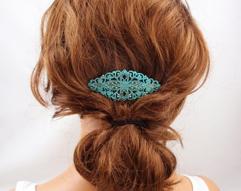 Turquoise teal green hair comb clip vintage wedding bridal formal