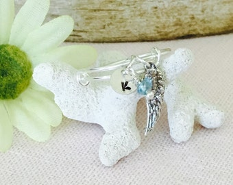 Loved One Remembrance Sterling Silver Name and Birthstone Adjustable Ring