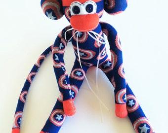 Sock Monkey-Captain America-Handmade-Superhero-Captain-USA-Comic-Pattern-Monkey-Red, White, Blue-Movie-Plush