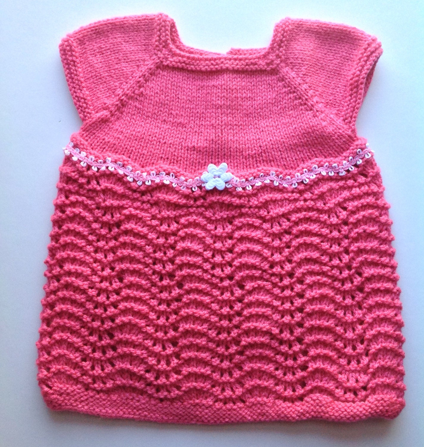 Knitting Summer Dress : Knit baby dress pink knitted lace summer