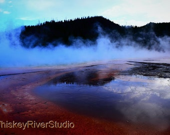 Grand Prismatic Spring, Yellowstone National Park print. Canvas photo print. Canvas Photography. Wall Art. 8x10, 11x14, 16x20, 20x24.