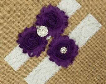 Wedding Garter, Wedding Garter Set, Purple Garter, Purple Garter Belt, Wedding Garter Belt, Wedding Garter, Bridal Garter, Garter, SCWS-P02