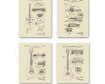 Vintage Gibson Patent Art Prints set of 4 art prints in cream color Gift for Dad, gift for guitarist, Musician wall decor, Guitar wall art