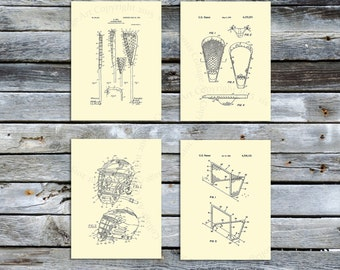Vintage Lacrosse Patent Art Prints set of 4 art prints in cream color, Lacrosse home decor, Lacrosse art prints, Lacrosse Mom gift