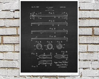 Drumstick Patent Art #6 on chalkboard background - Music room Decor, Musician Wall Decor, Gift for Drummer, Drummer Decor idea, Wall Art