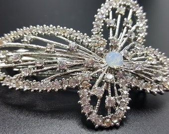 New Silver Butterfly Crystal and Rhinestone 3'' Hair Barrette Lever Back