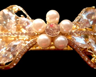 New Clear Crystal Cluster Bow With Pearls & Rhinestone 3 1/2'' Hair Barrette
