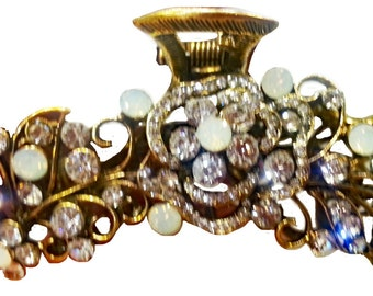 New Small Gold With CZ Crystal & Opal Foral 3'' Hair Claw Clip