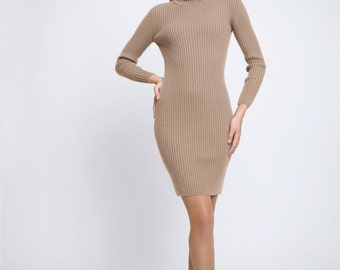 Claudia Oatmeal ribbed knit turtle neck dress / merino wool dress / roll neck dress