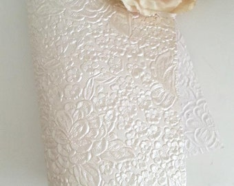 Embossed paper - A4 Metallic Cream Ivory emboss pattern paper, colour classic and elegant wedding invitations - Pure Invites