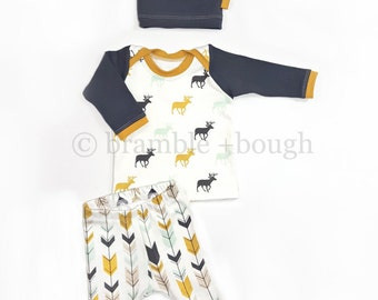 Mod Arrow Coming Home Outfit, Shirt, Leggings, Matching Knot Hat, Baby Boy, Size Newborn, 0-3 Mos, 3-6 Mos, 6-9 Mos