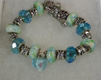 Blue and White Flowered Charm Bracelet