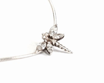 "Italian Sterling Silver & CZ Diamond Embossed Dragonfly Pendant On a 16"" Omega Chain Necklace, Spring Clasp, .6x.6x.25"", 5.02 Grams #3101"