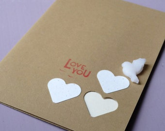 Handmade 'Love you' card. Blank Greeting card. Designed and made in the UK.