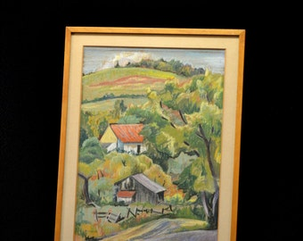 Original Mid Century Modern Pastel Painting, Signed M. Hunter, Colorful Hillside Farm Scene, Probably New England