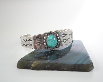 Vintage Southwest Navajo Sterling Silver and Turquoise Native American Cuff Bracelet