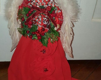 Beaded Red and White Angel Tree Topper