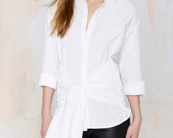 WHITE SHIRT with Tie detail at front - White - 100% Cotton Women trending clothes Minimalistic Shirt with Bow Tied at Front 3/4 Sleeves